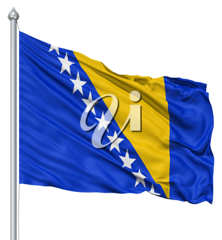 Royalty Free Clipart Image of the Bosnia and Herzegovina Flag