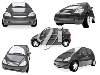 Royalty Free Clipart Image of a Collage of Cars