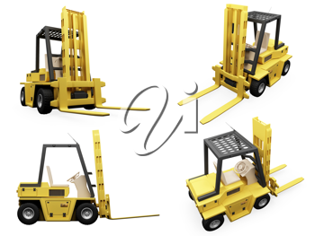 Royalty Free Clipart Image of Forklifts
