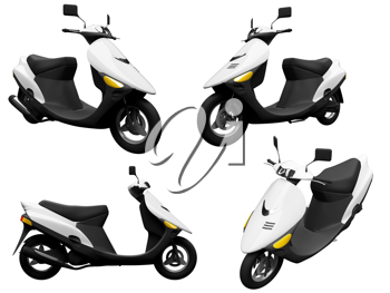Royalty Free Clipart Image of a Bunch of Scooters