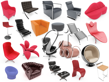 Royalty Free Clipart Image of a Collection of Chairs