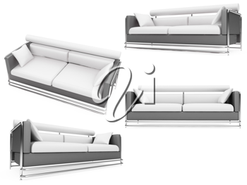 Royalty Free Clipart Image of a Bunch of Couches