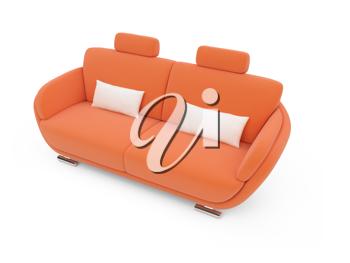 Royalty Free Clipart Image of an Orange Couch