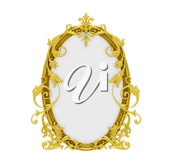 Royalty Free Clipart Image of a Decorative Gold Frame