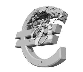 Royalty Free Clipart Image of a Damaged Euro