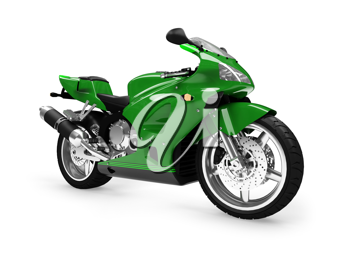 Royalty Free Clipart Image of a Green Motorcycle