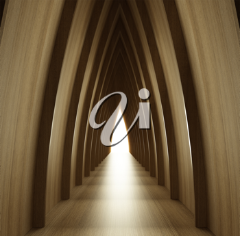 Royalty Free Clipart Image of a Wood Corridor