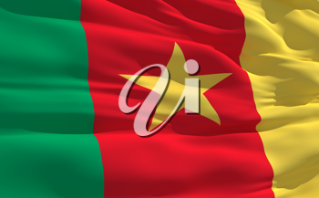 Royalty Free Clipart Image of the Flag of Cameroon