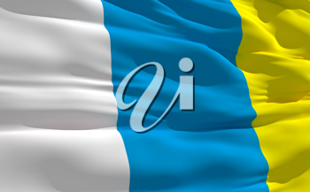 Royalty Free Clipart Image of the Canary Islands Flag