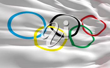 Royalty Free Clipart Image of the Olympic Flag