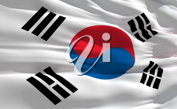 Royalty Free Clipart Image of the South Korean Flag
