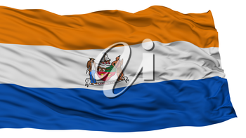 Isolated Albany Flag, Capital of New York State, Waving on White Background, High Resolution