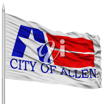 Allen City Flag on Flagpole, Texas State, Flying in the Wind, Isolated on White Background