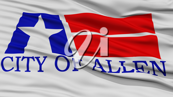 Closeup of Allen City Flag, Waving in the Wind, Texas State, United States of America