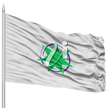 Aomori Capital City Flag on Flagpole, Prefecture of Japan, Isolated on White Background