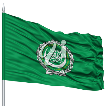 Arab League Flag on Flagpole, Flying in the Wind, Isolated on White Background