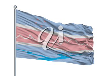 El Chalten City Flag On Flagpole, Country Argentina, Isolated On White Background, 3D Rendering