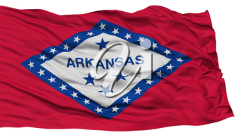 Isolated Arkansas Flag, USA state, Waving on White Background, High Resolution