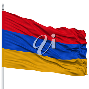 Armenia Flag on Flagpole, Flying in the Wind, Isolated on White Background