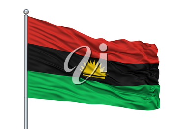 Biafra Flag On Flagpole, Isolated On White Background, 3D Rendering