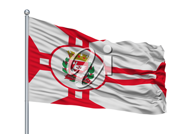 Sao Paulo City Flag On Flagpole, Country Brasil, Isolated On White Background, 3D Rendering