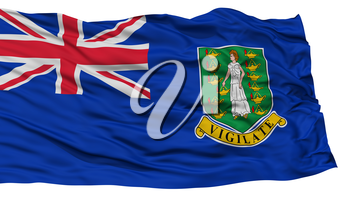 Isolated British Virgin Islands Flag, Waving on White Background, High Resolution