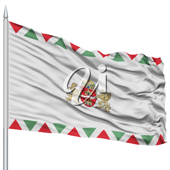 Budapest City Flag on Flagpole, Capital City of Hungary, Flying in the Wind, Isolated on White Background