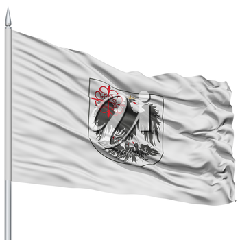Buenos Aires City Flag on Flagpole, Capital City of Argentina, Flying in the Wind, Isolated on White Background