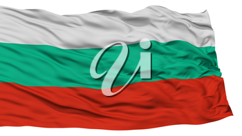 Isolated Bulgaria Flag, Waving on White Background, High Resolution