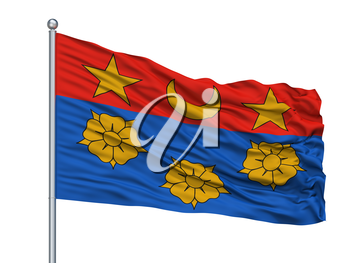 Longueuil City Flag On Flagpole, Country Canada, Quebec Province, Isolated On White Background, 3D Rendering