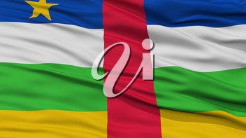 Closeup Central African Republic Flag, Waving in the Wind, High Resolution