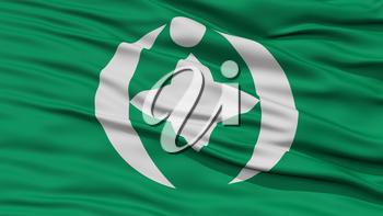 Closeup of Chiba Flag, Capital of Japan Prefecture, Waving in the Wind, High Resolution