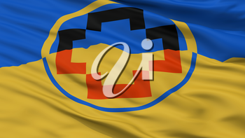 Calama City Flag, Country Chile, Closeup View, 3D Rendering