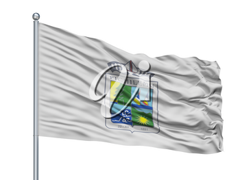 Pichilemu City Flag On Flagpole, Country Chile, Isolated On White Background, 3D Rendering