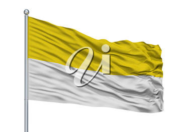 Uribia City Flag On Flagpole, Country Colombia, La Guajira Department, Isolated On White Background, 3D Rendering