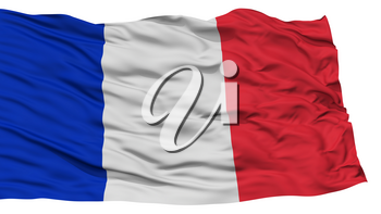 Isolated France Flag, Waving on White Background, High Resolution