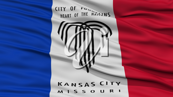 Closeup of Kansas City Flag, Waving in the Wind, Missouri State, United States of America