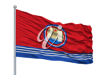North Korea Naval Ensign Flag On Flagpole, Isolated On White Background, 3D Rendering