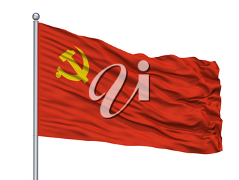 Chinese Communist Party Flag On Flagpole, Isolated On White Background, 3D Rendering
