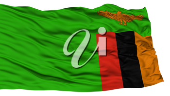 Isolated Zambia Flag, Waving on White Background, 3D rendering