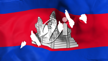 Cambodia flag perforated, bullet holes, white background, 3d rendering