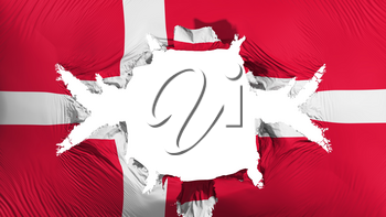 Denmark flag with a big hole, white background, 3d rendering