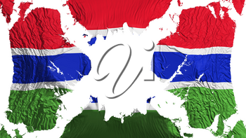 Gambia torn flag fluttering in the wind, over white background, 3d rendering