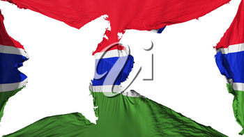 Destroyed Gambia flag, white background, 3d rendering