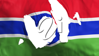 Ragged Gambia flag, white background, 3d rendering