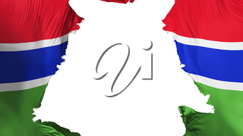 Gambia flag ripped apart, white background, 3d rendering