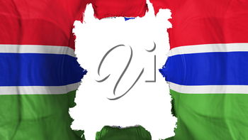 Ripped Gambia flying flag, over white background, 3d rendering