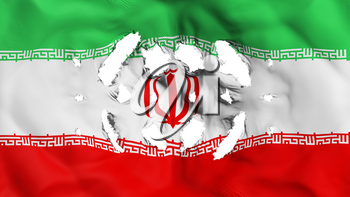 Iran flag with a small holes, white background, 3d rendering