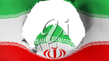 Big hole in Iran flag, white background, 3d rendering