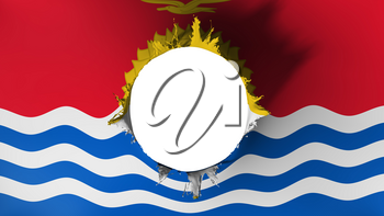 Hole cut in the flag of Kiribati, white background, 3d rendering